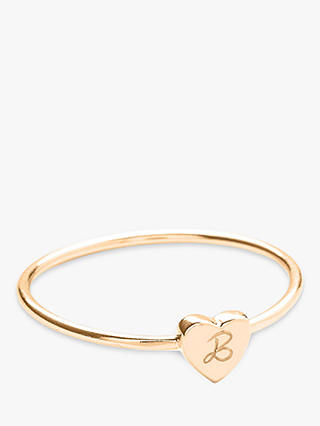 Buy Merci Maman Personalised Initial Heart Ring, Gold, L Online at johnlewis.com