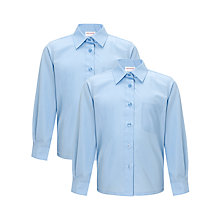 Buy John Lewis Girls' Easy Care Long Sleeve School Blouse, Pack of 2 Online at johnlewis.com