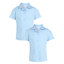 Buy John Lewis Girls' Easy Care Open Neck Short Sleeve School Blouse, Pack of 2 Online at johnlewis.com