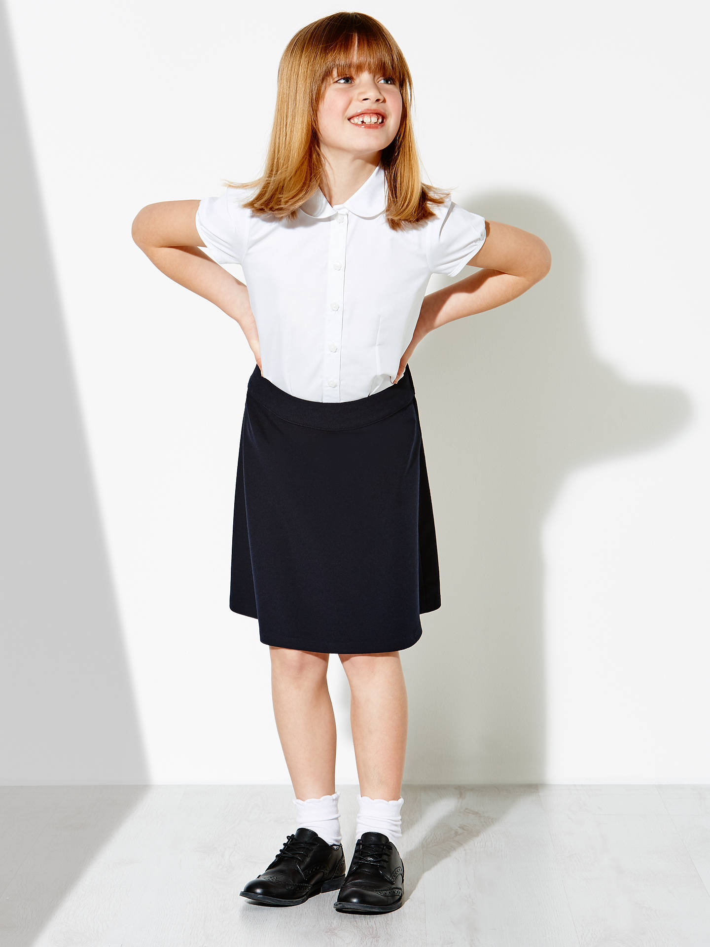 Buy John Lewis & Partners Girls' Cap Sleeve Fitted Blouse, White, 3 years Online at johnlewis.com