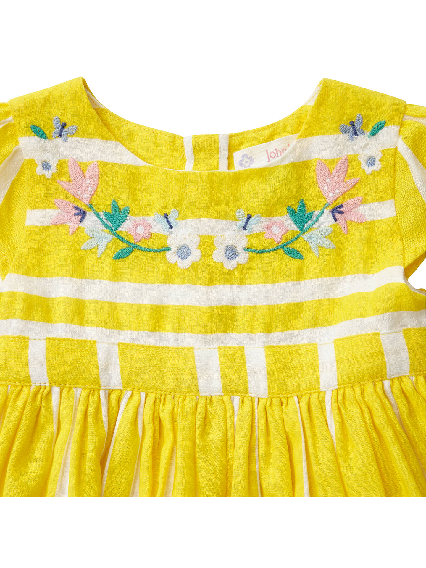 Buy John Lewis Baby Stripe Embroidered Dress, Yellow, Newborn Online at johnlewis.com