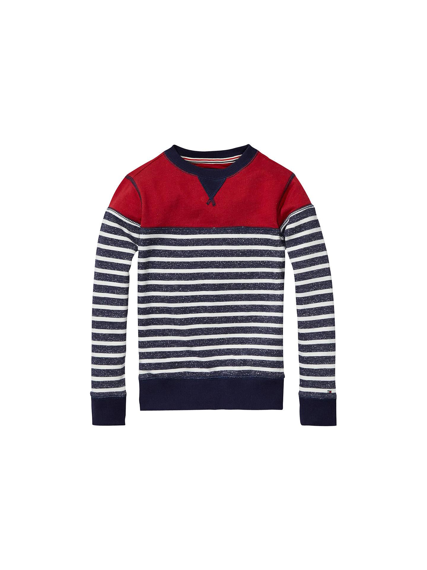 ac23495f Buy Tommy Hilfiger Boys' Stripe Knit Jumper, Black Iris, 2 years Online at  ...