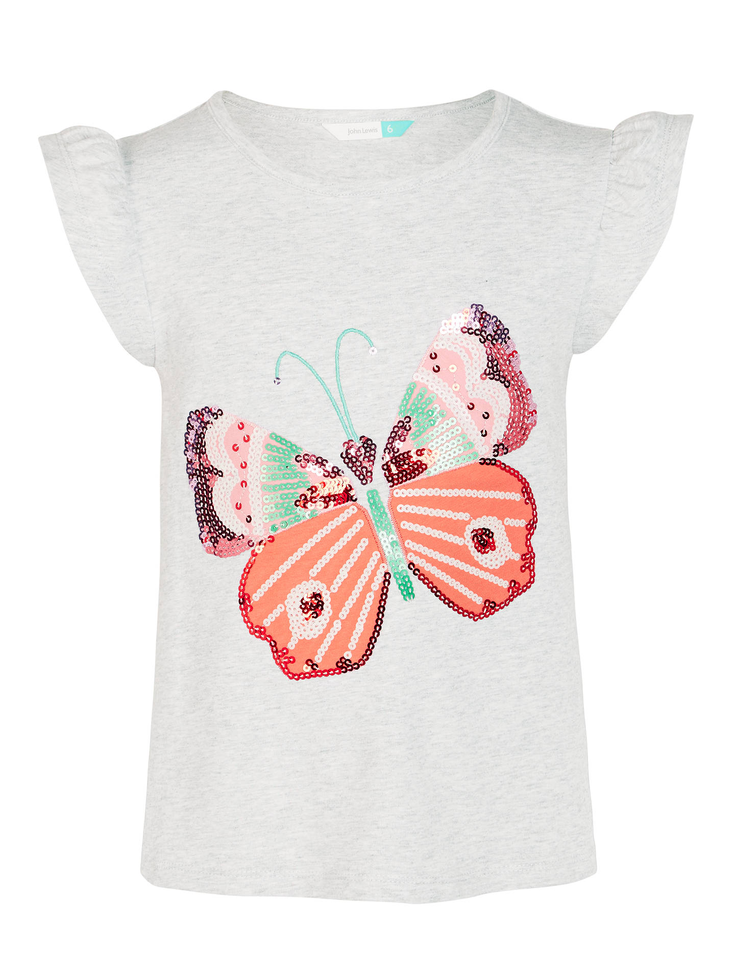 0a936d3b BuyJohn Lewis Girls' Sequin Butterfly T-Shirt, Grey, 2 years Online at ...