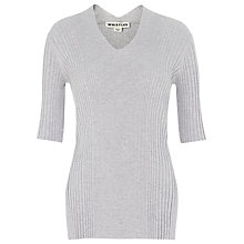 Buy Whistles Rib V Neck Top, Pale Grey Online at johnlewis.com