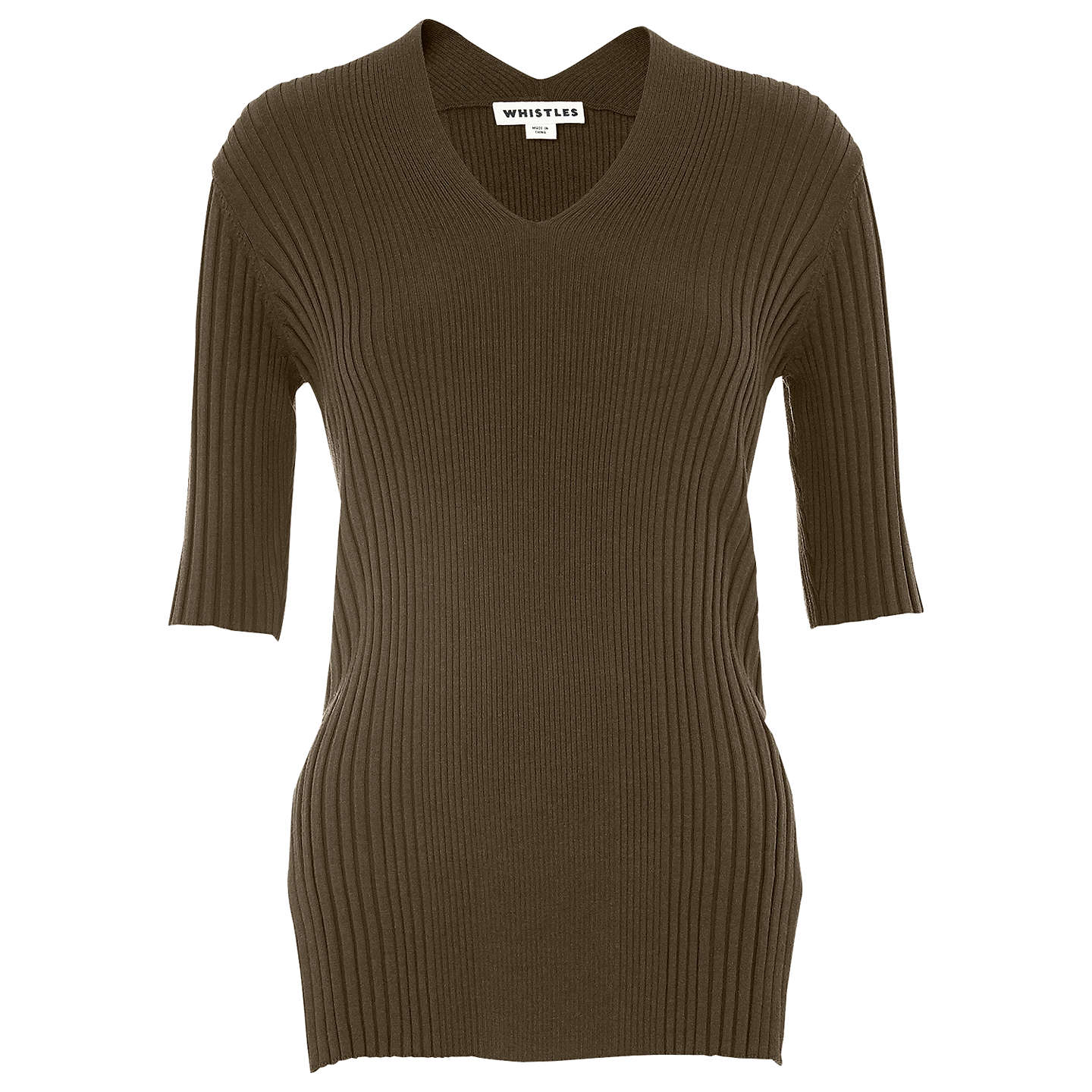 BuyWhistles Rib V Neck Top, Olive, 6 Online at johnlewis.com