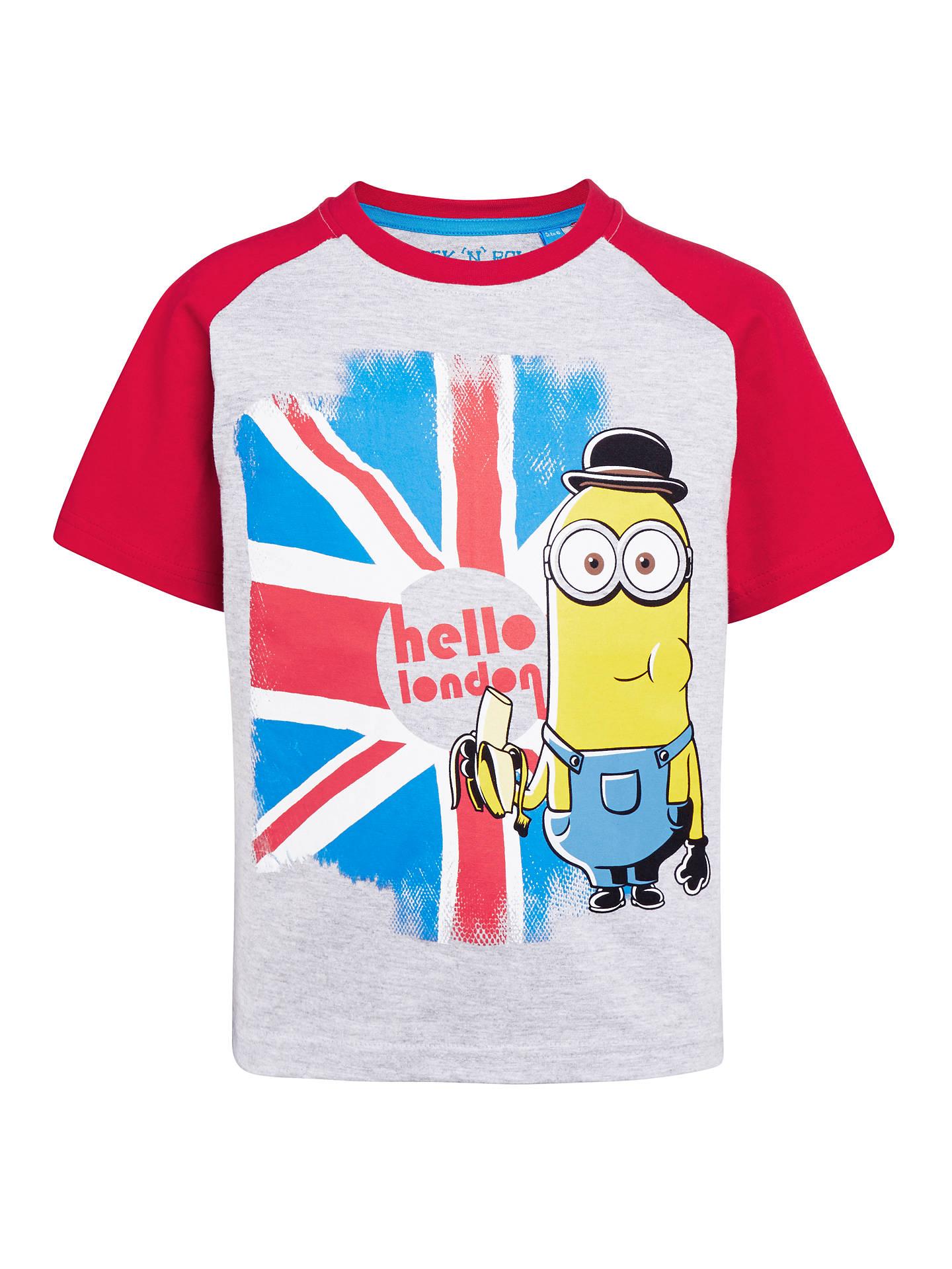 Minions Boys Hello London Banana T Shirt Grey Red At John Lewis