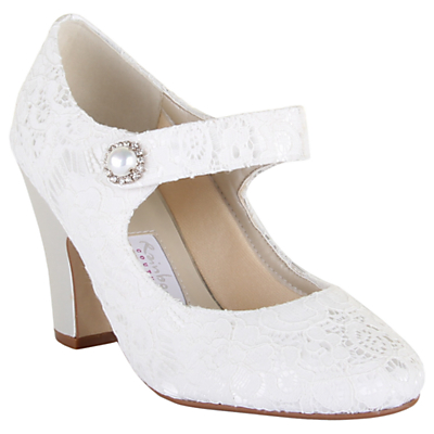 Vintage Inspired Wedding Dresses Rainbow Club Betty Satin and Lace Strap Court Shoes Ivory £55.00 AT vintagedancer.com