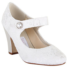 Buy Rainbow Club Betty Satin and Lace Strap Court Shoes, Ivory Online at johnlewis.com
