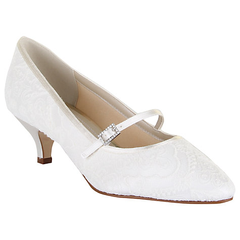 Buy Rainbow Club Bridget Kitten Heeled Mary Jane Pumps, Ivory Satin Online at johnlewis.com