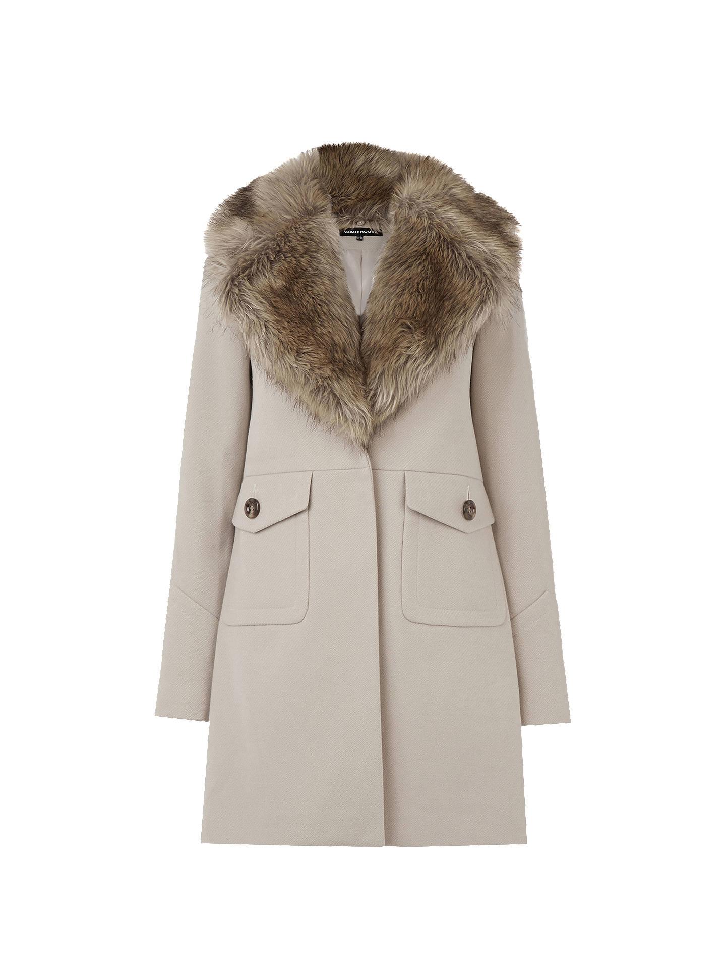 skilful manufacture cheaper original Warehouse Extreme Faux Fur Collar Coat, Camel at John Lewis ...