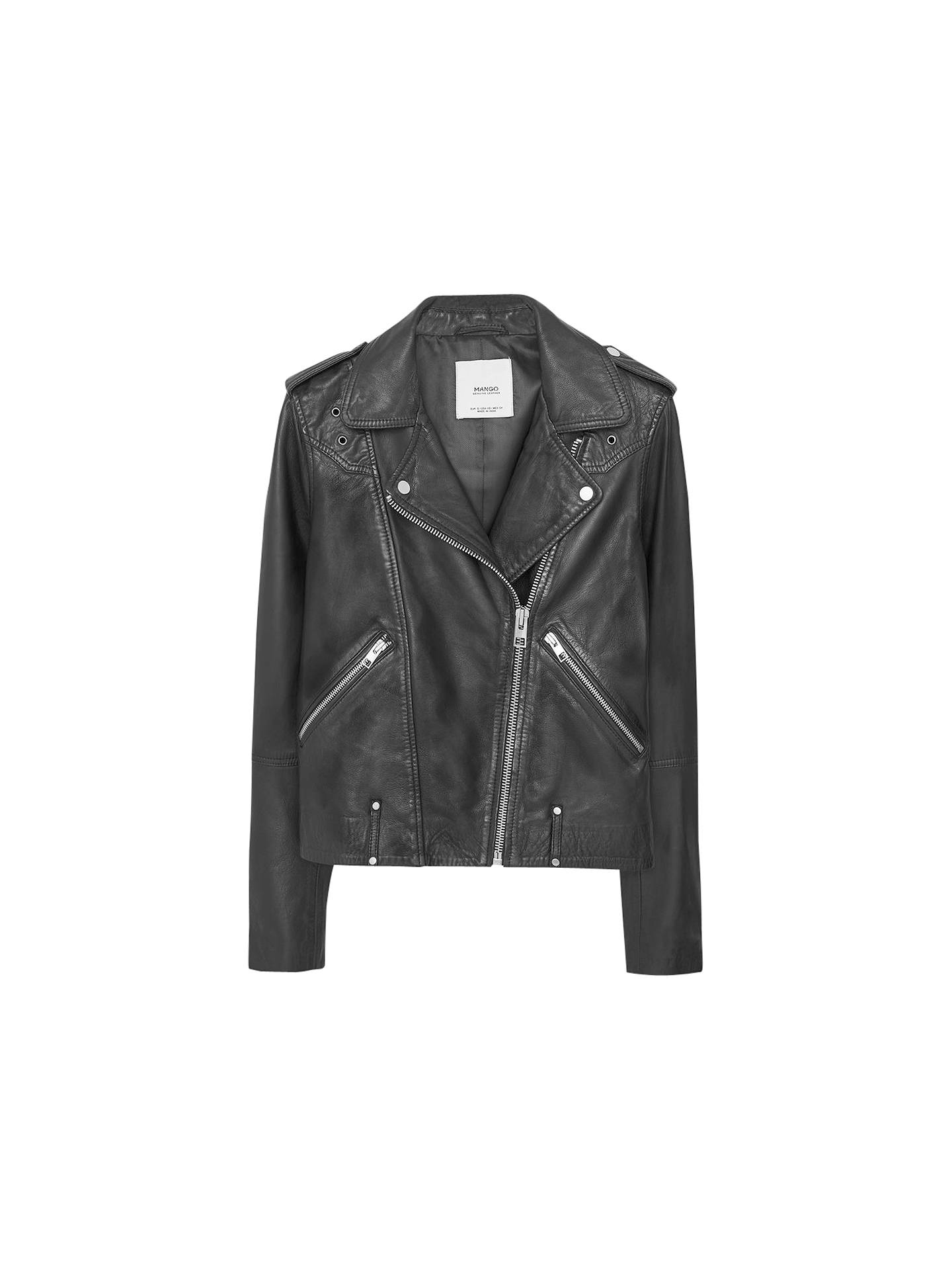 Buy Mango Zip Leather Jacket, Black, XS Online at johnlewis.com
