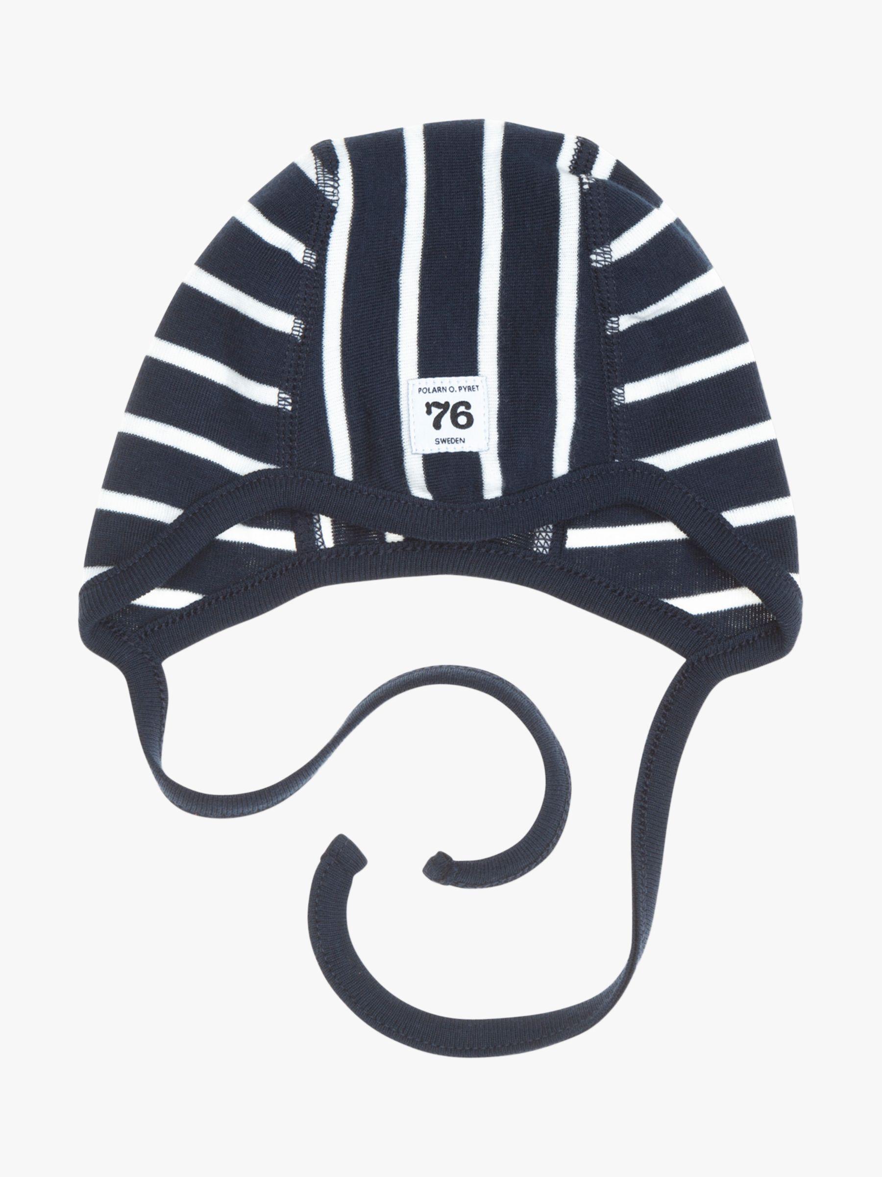 Polarn O. Pyret Polarn O. Pyret Baby GOTS Organic Cotton Stripe Helmet Hat, Blue