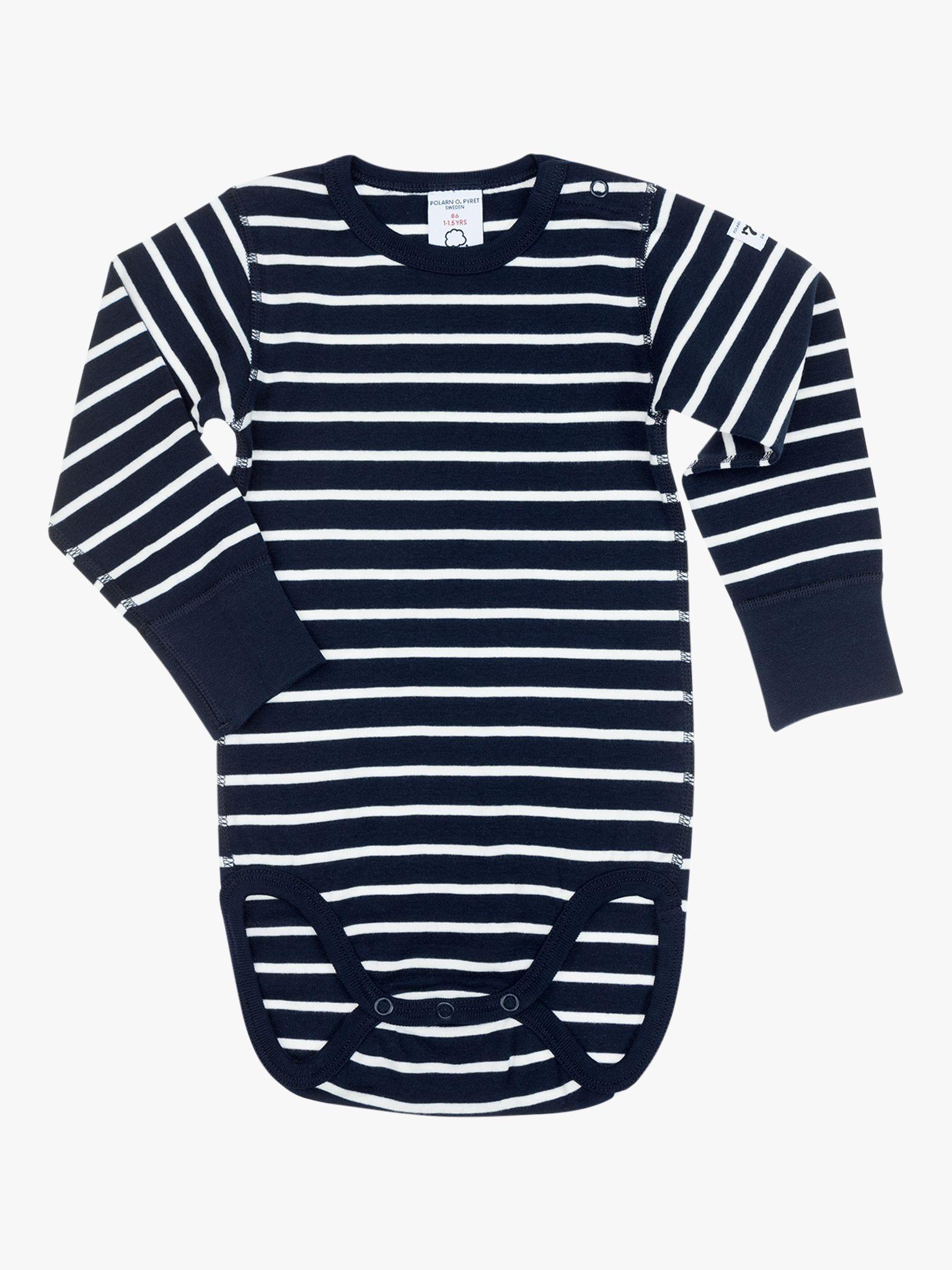 Polarn O. Pyret Polarn O. Pyret Baby GOTS Organic Cotton Stripe Long Sleeve Bodysuit, Blue