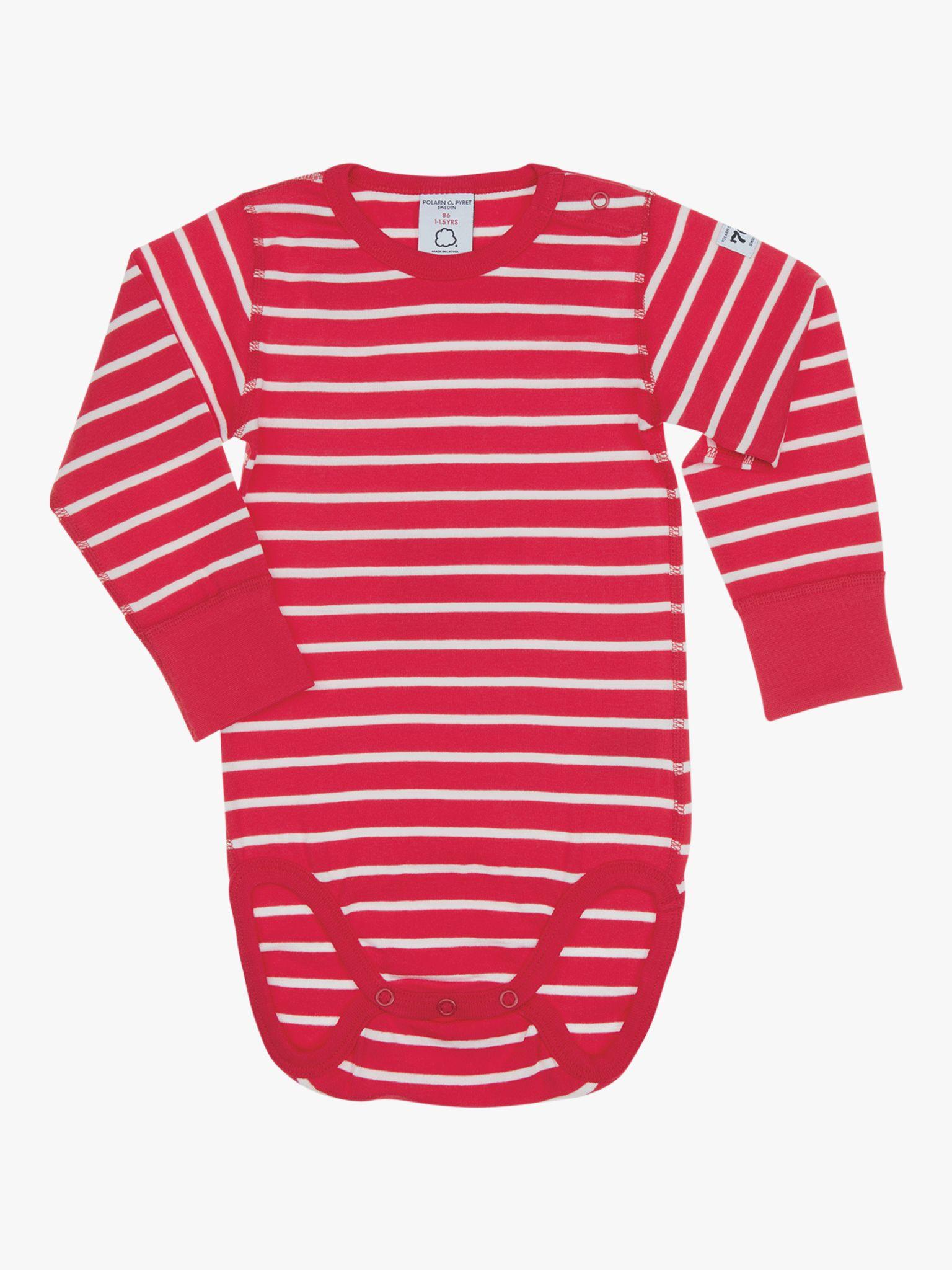 Polarn O. Pyret Polarn O. Pyret Baby GOTS Organic Cotton Stripe Long Sleeve Bodysuit, Red