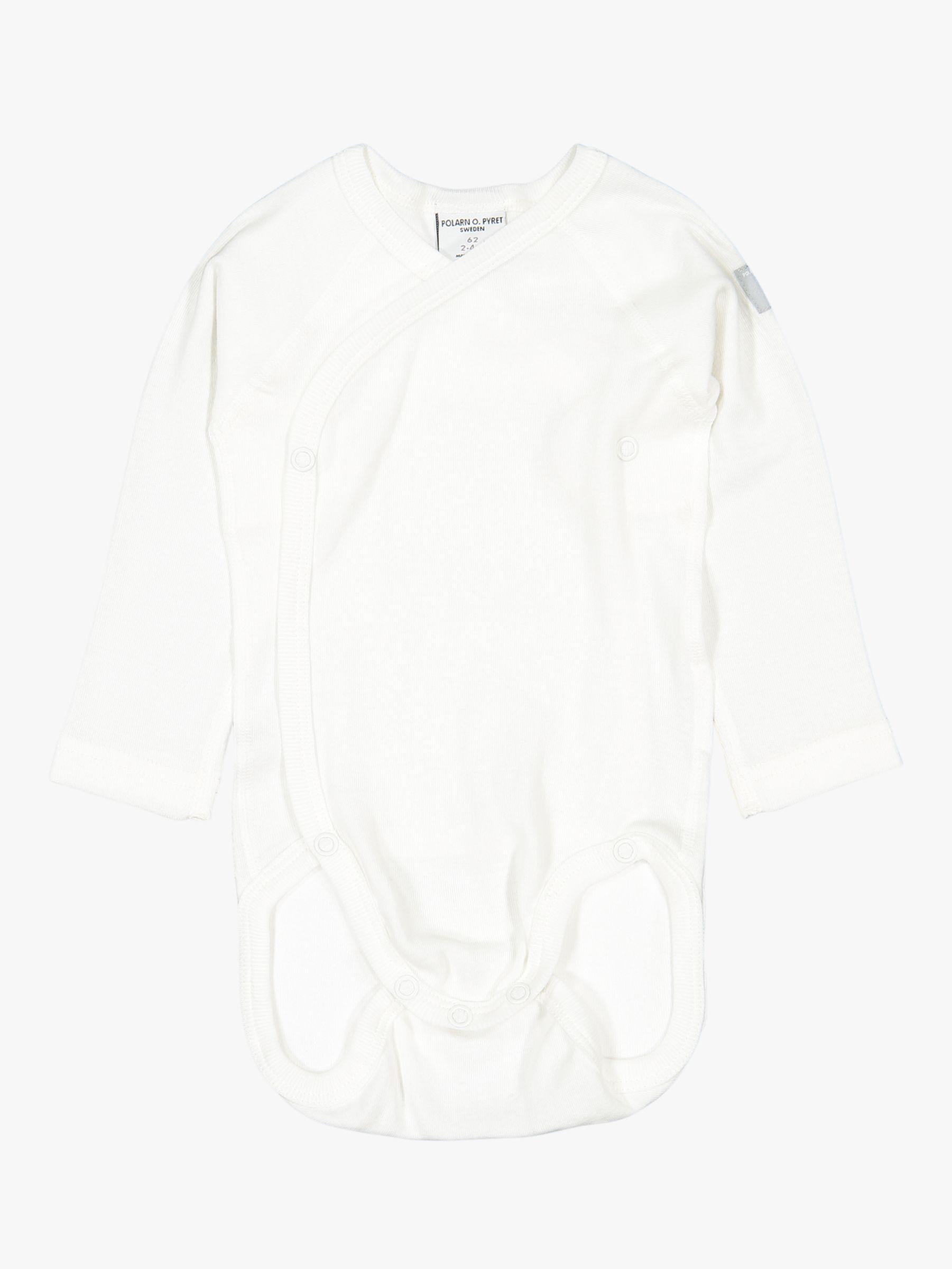 Polarn O. Pyret Polarn O. Pyret Baby GOTS Organic Cotton Wraparound Bodysuit, White