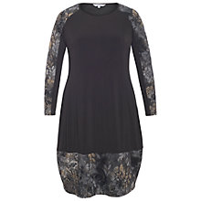 Buy Chesca Flock Print Jersey Dress, Black Online at johnlewis.com