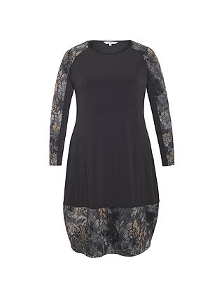Buy Chesca Flock Print Jersey Dress, Black, 12-14 Online at johnlewis.com