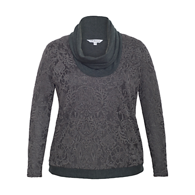 Chesca Baroque Cowl Neck Top, Charcoal