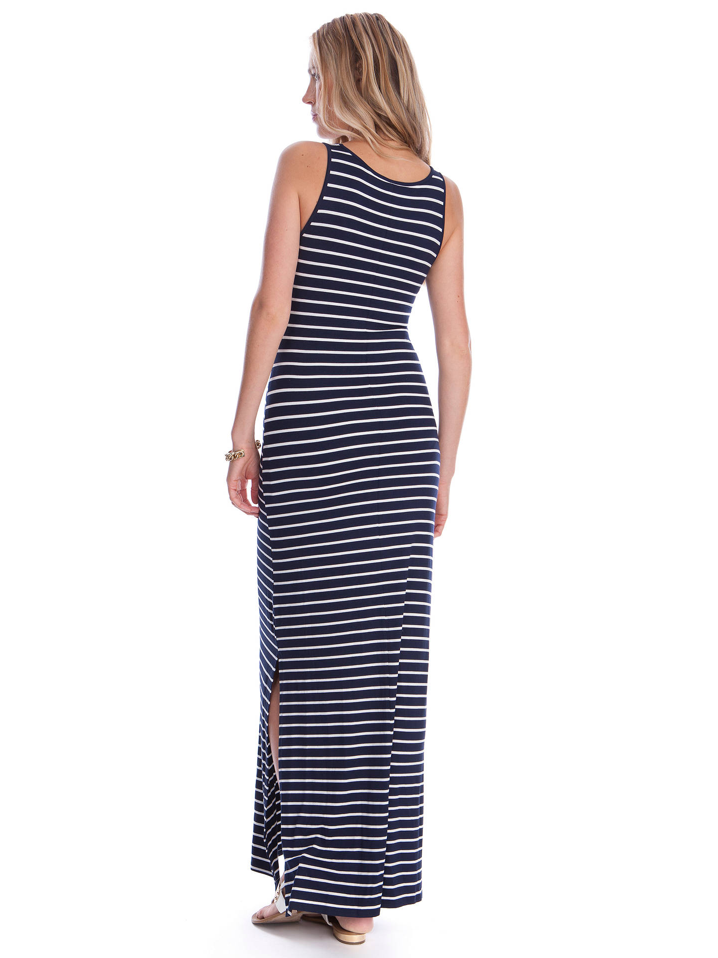 BuySéraphine Magda Maternity Stripe Maxi Dress, Navy/White, 8 Online at johnlewis.com