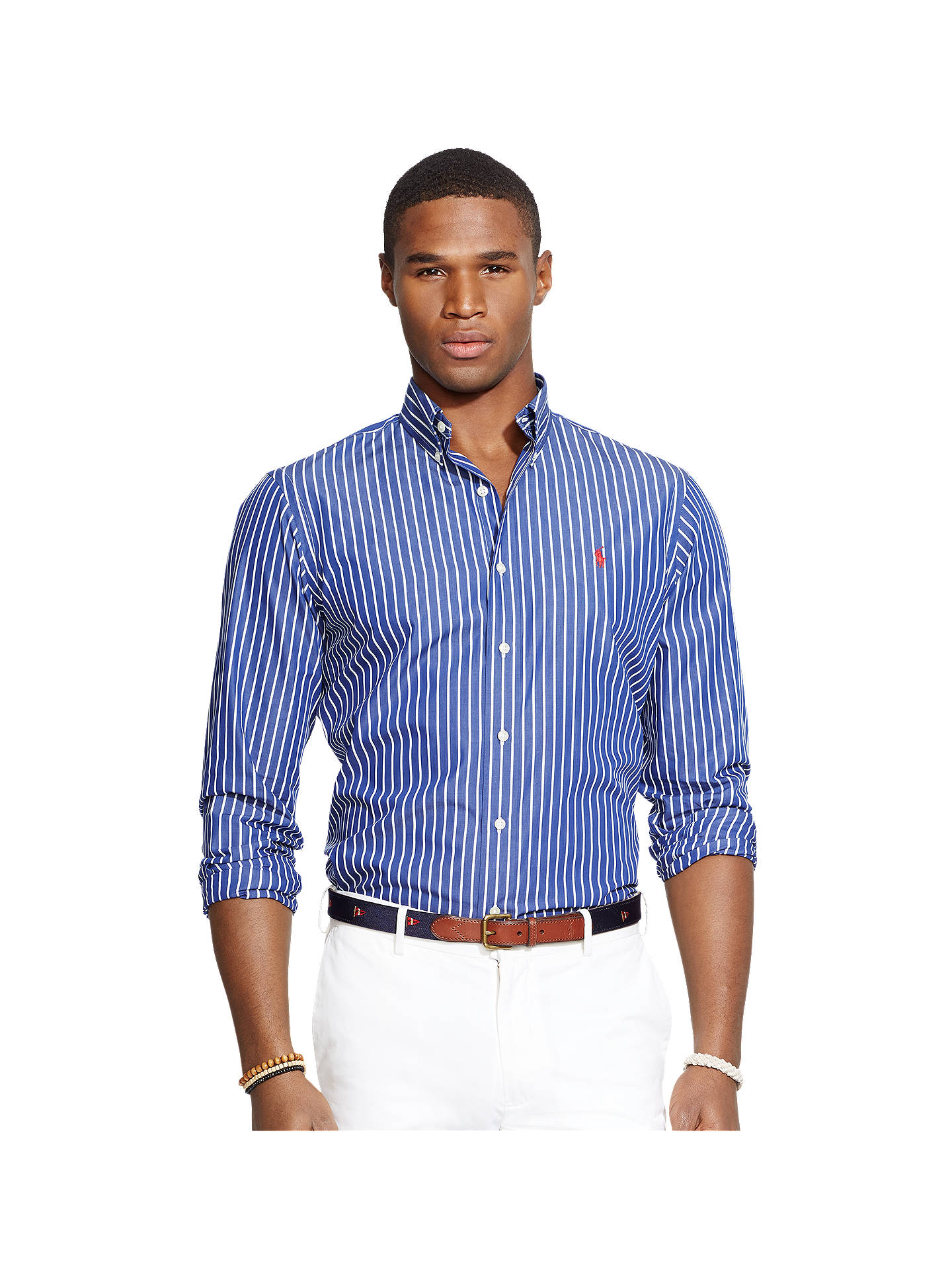 06132ce8 Buy Polo Ralph Lauren Striped Shirt, Navy Stripe, S Online at johnlewis.com  ...