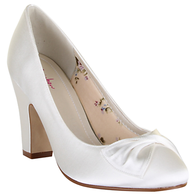 1940s Style Wedding Dresses and Accessories Rainbow Club Dinah Block Heeled Court Shoes Ivory Satin £34.50 AT vintagedancer.com