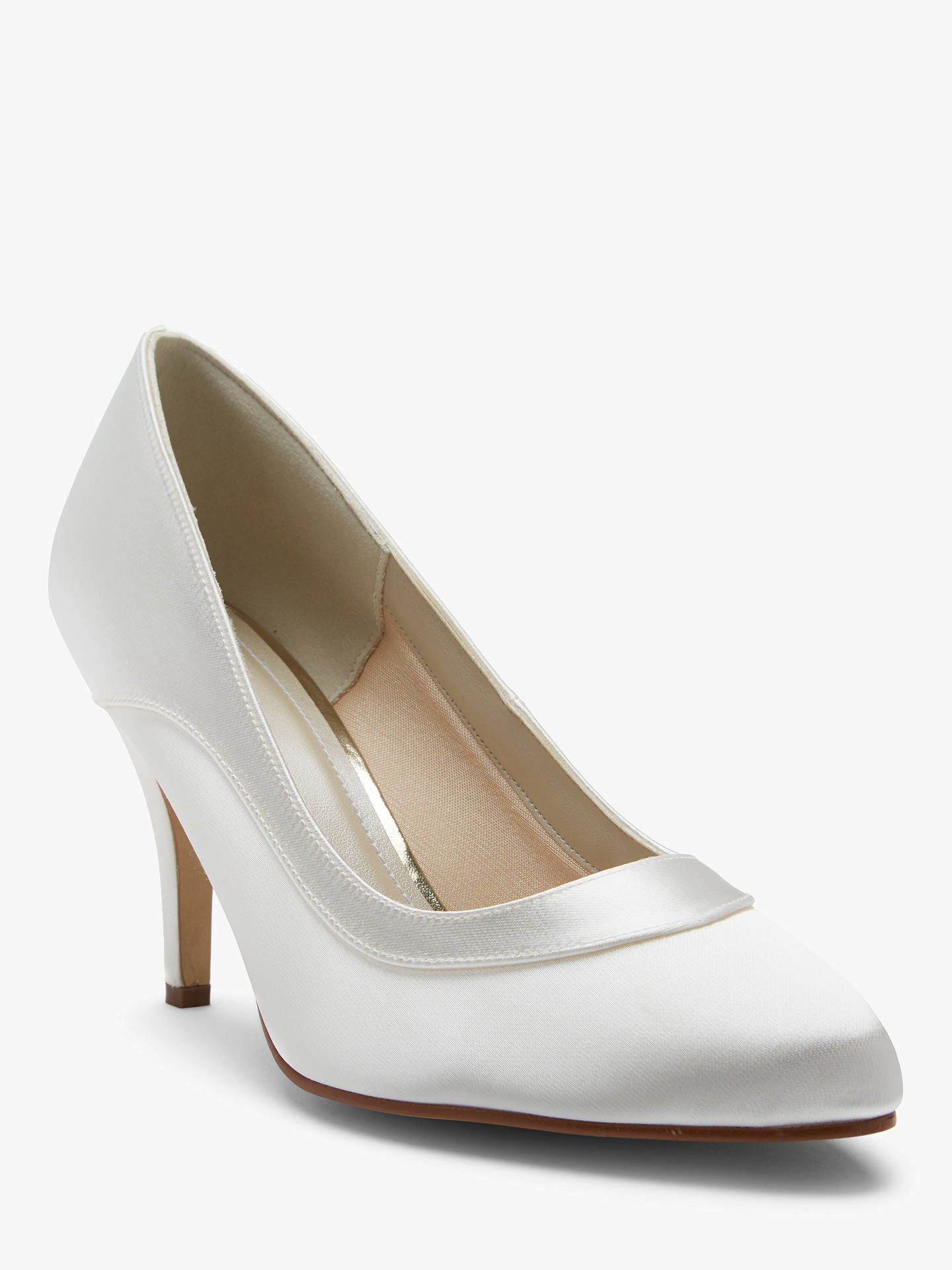 Buy Rainbow Club Nicole Extra Wide Fit Satin Court Shoes, Ivory, 5.5 Online at johnlewis.com