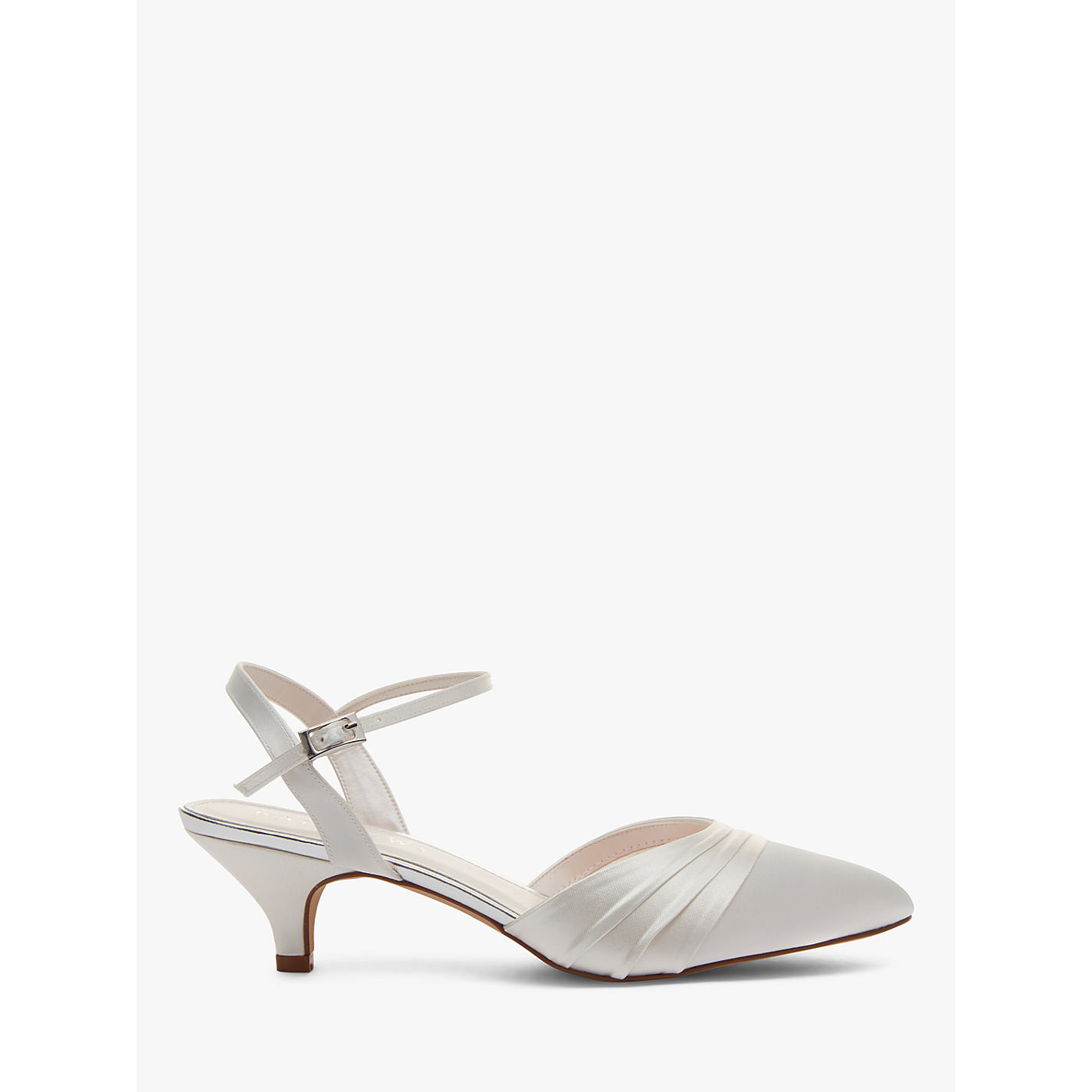 Rainbow Club Julie Kitten Heel Court Shoes Ivory Satin Online At Johnlewis