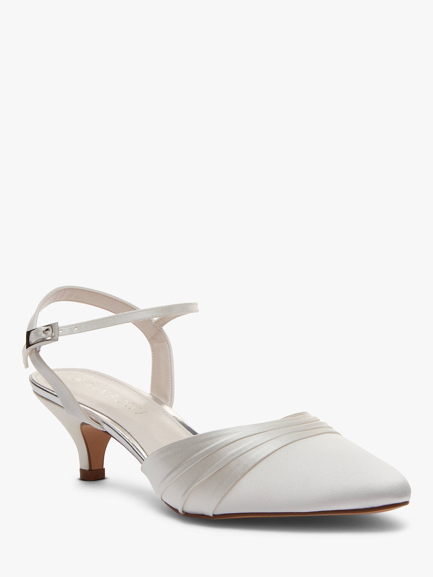 BuyRainbow Club Julie Kitten Heel Court Shoes, Ivory Satin, 3 Online at johnlewis.com