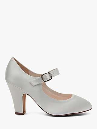 Rainbow Club Madeline Block Heeled Mary Jane Shoes, Ivory Satin