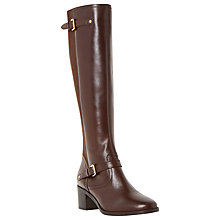 Buy Dune Vivvi Block Heeled Knee High Boots, Brown Leather Online at johnlewis.com