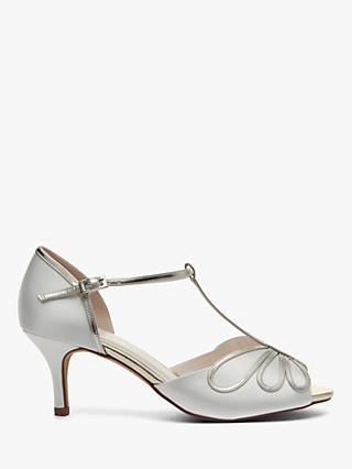 Rainbow Club Harlow T-Bar Stiletto Heeled Sandals, Ivory Satin