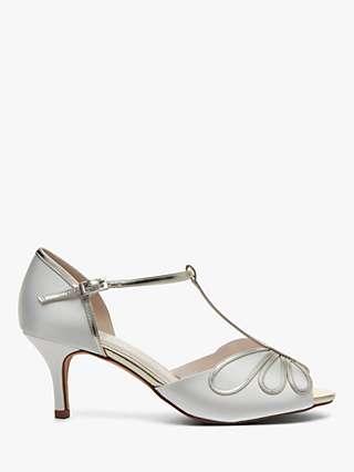 Rainbow Club Harlow T-Bar Stiletto Heeled Sandals, Ivory Satin