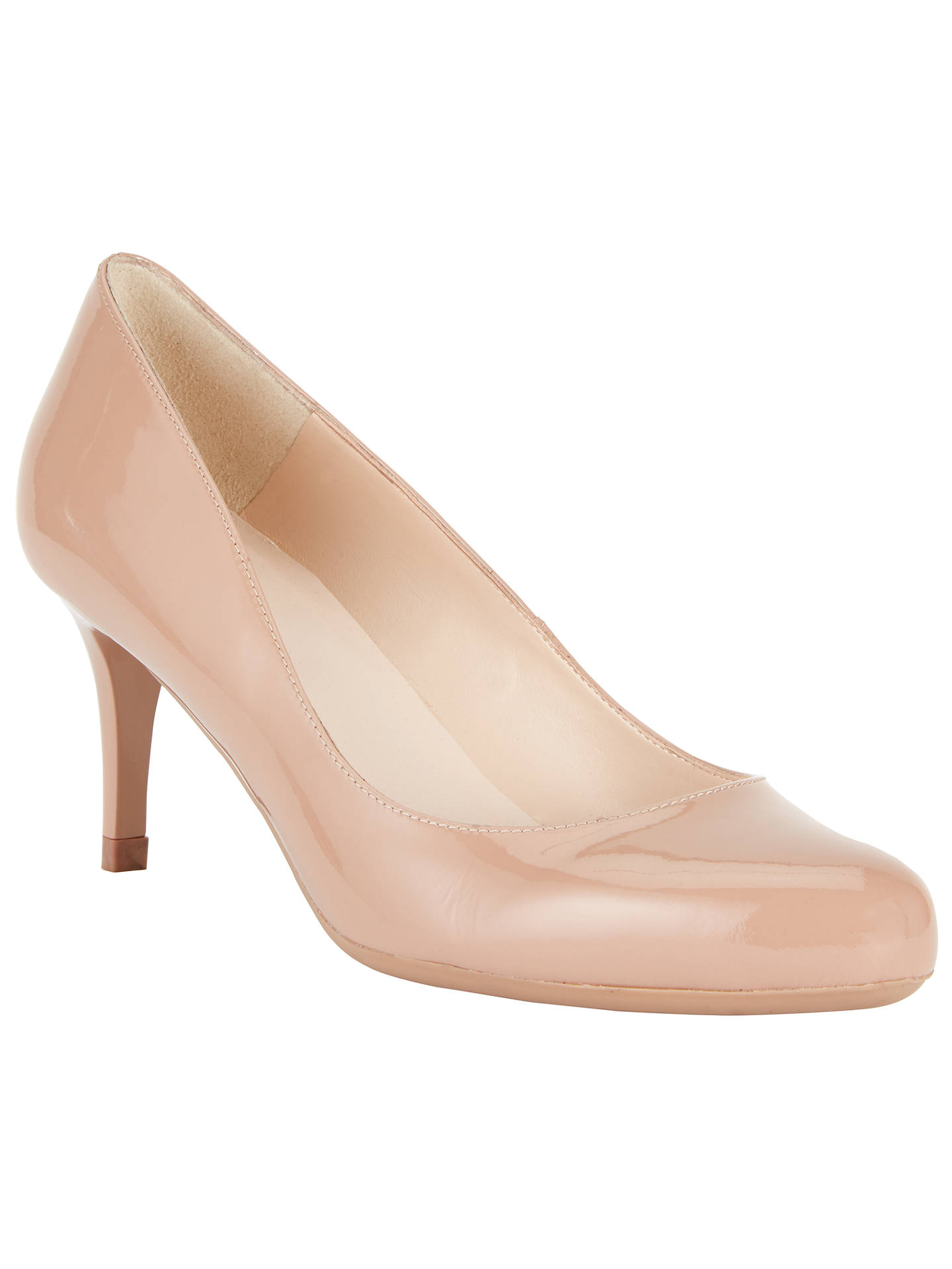 Buy John Lewis A-Etta Stiletto Heeled Court Shoes, Nude Patent, 3 Online at johnlewis.com