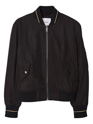 Buy Mango Contrast Trim Bomber Jacket, Black, S Online at johnlewis.com