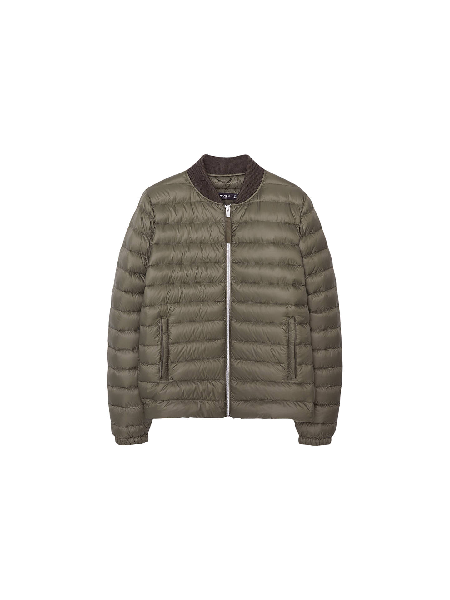 ce6e24a03c60 Mango Quilted Down Jacket, Khaki at John Lewis & Partners