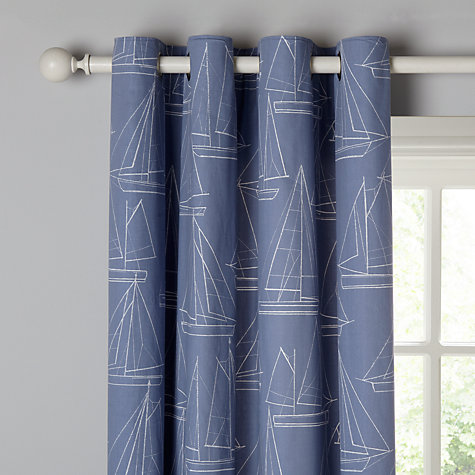 Buy John Lewis Sailing Boats Lined Eyelet Curtains, Pacific | John ...