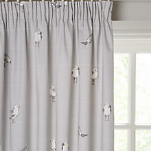 Buy John Lewis Coastal Birds Printed Lining Pencil Pleat Curtains, Blue Grey Online at johnlewis.com