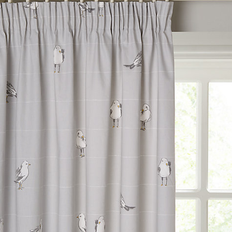 Buy John Lewis Coastal Birds Printed Lining Pencil Pleat