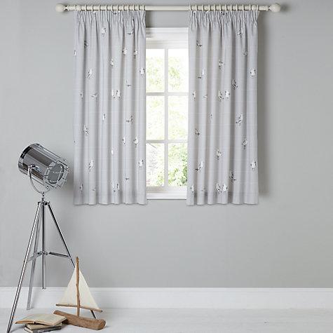 Buy John Lewis Coastal Birds Printed Lining Pencil Pleat Curtains - John lewis curtains grey