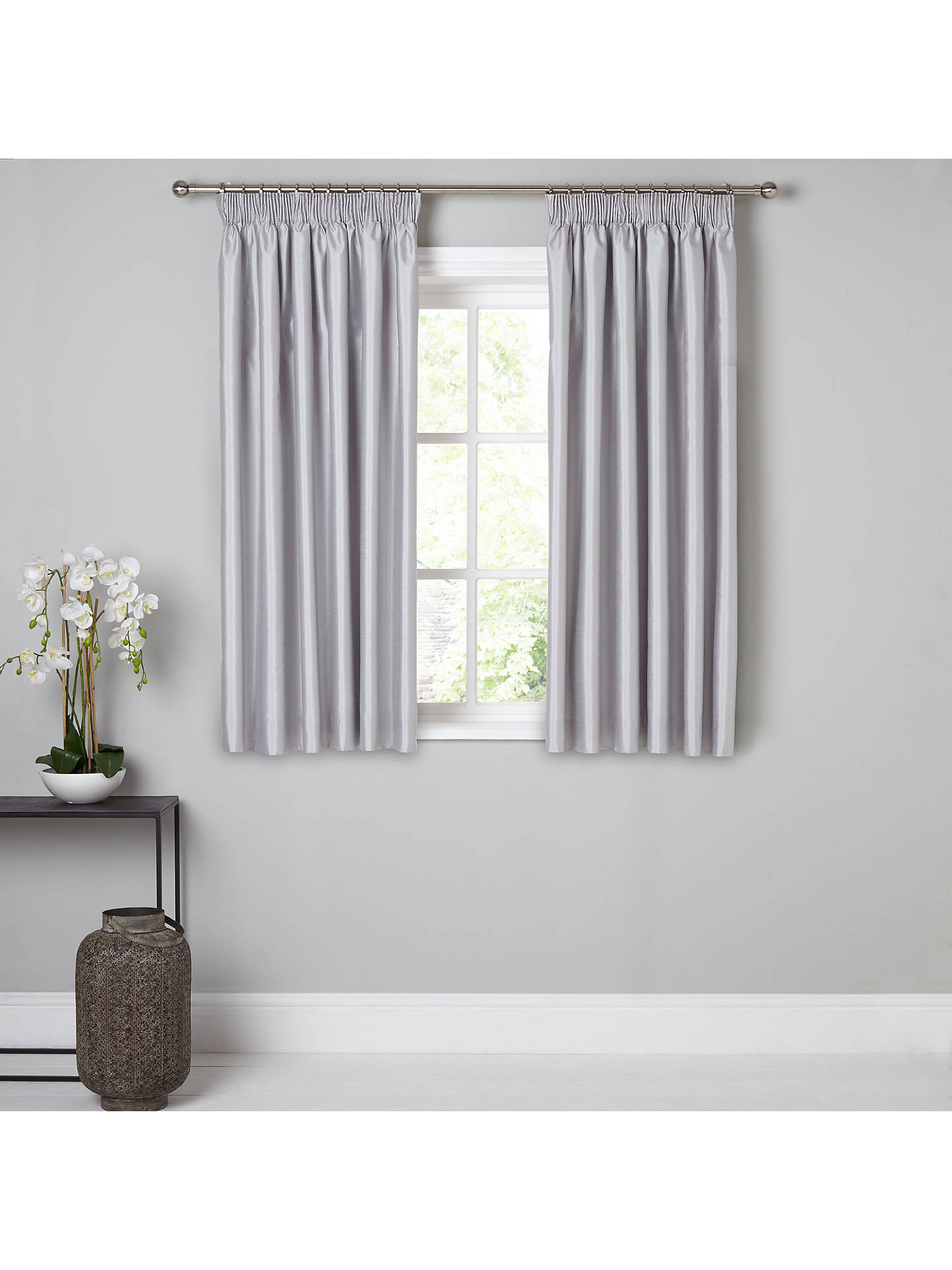 BuyJohn Lewis & Partners Faux Silk Pair Blackout Lined Pencil Pleat Curtains, Blue Grey, W167 x Drop 137cm Online at johnlewis.com