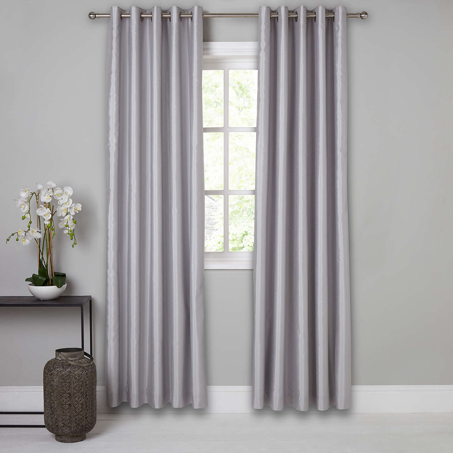BuyJohn Lewis Faux Silk Pair Blackout Lined Eyelet Curtains, Blue Grey, W167 x Drop 137cm Online at johnlewis.com