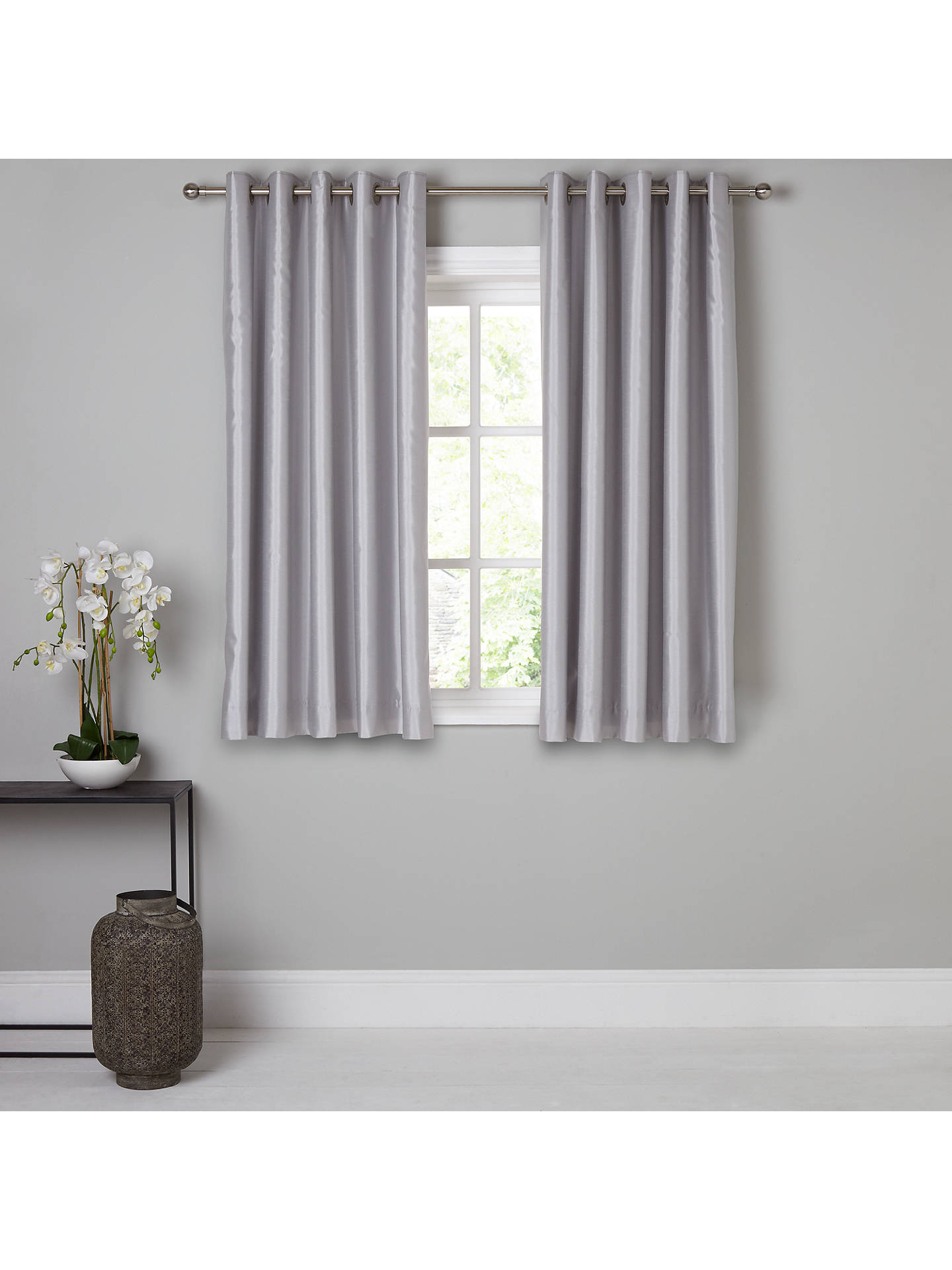 BuyJohn Lewis & Partners Faux Silk Pair Blackout Lined Eyelet Curtains, Blue Grey, W167 x Drop 137cm Online at johnlewis.com