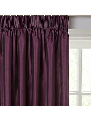 John Lewis & Partners Faux Silk Pair Blackout Lined Pencil Pleat Curtains