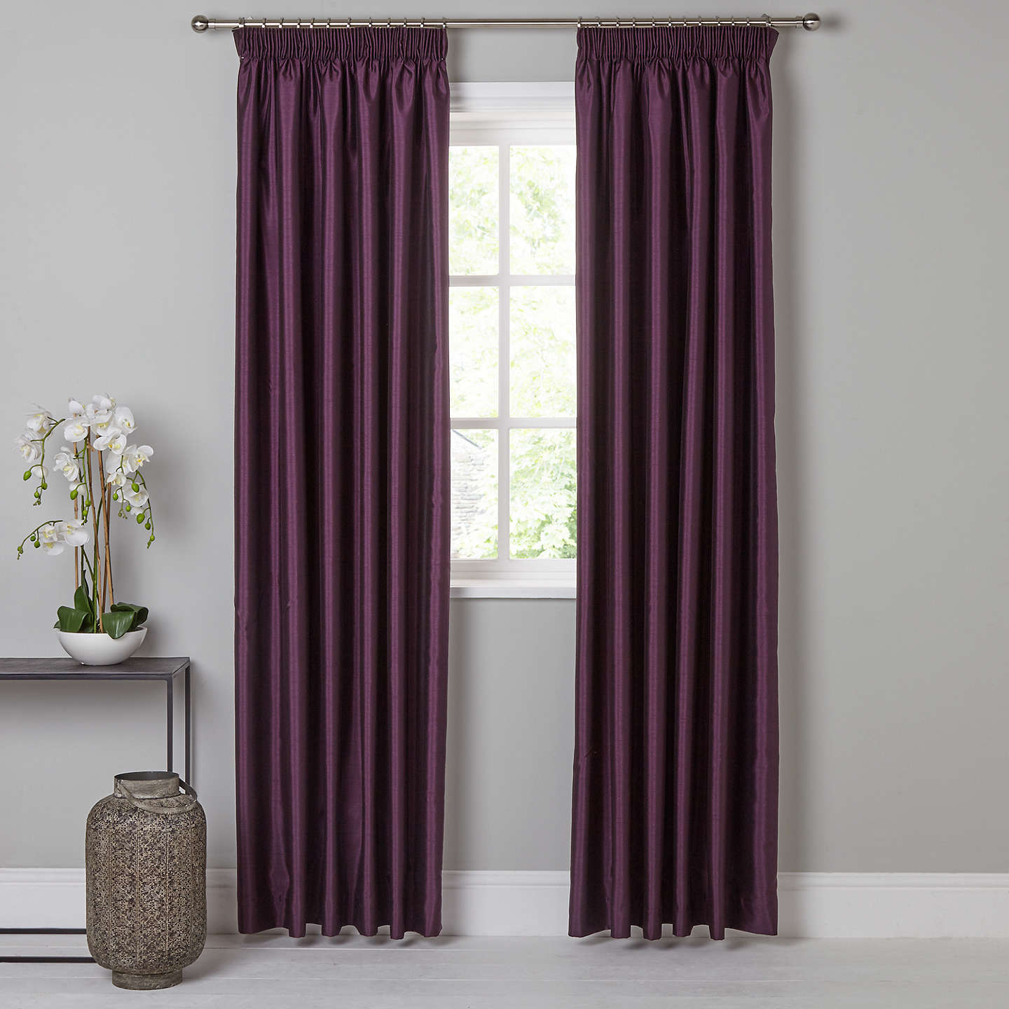 BuyJohn Lewis Faux Silk Pair Blackout Lined Pencil Pleat Curtains, Cassis, W228 x Drop 228cm Online at johnlewis.com