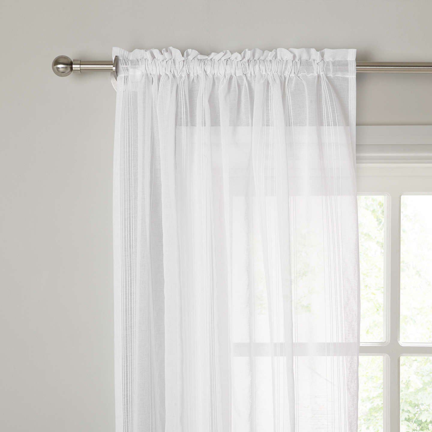 BuyJohn Lewis Florence Slot Top Voile Panel, W150 x Drop 135cm, White Online at johnlewis.com