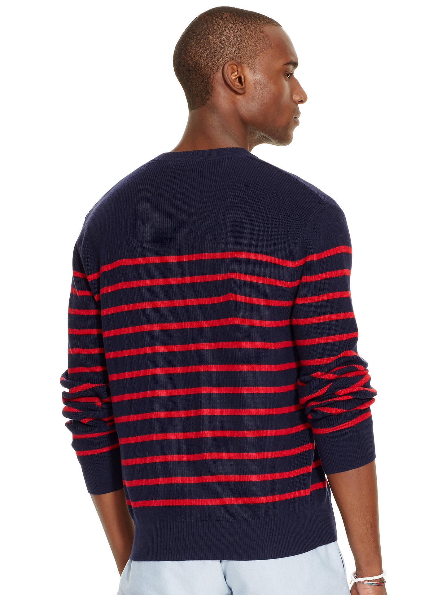 ... BuyPolo Ralph Lauren Stripe Sweater, Navy/Red, S Online at  johnlewis.com ...