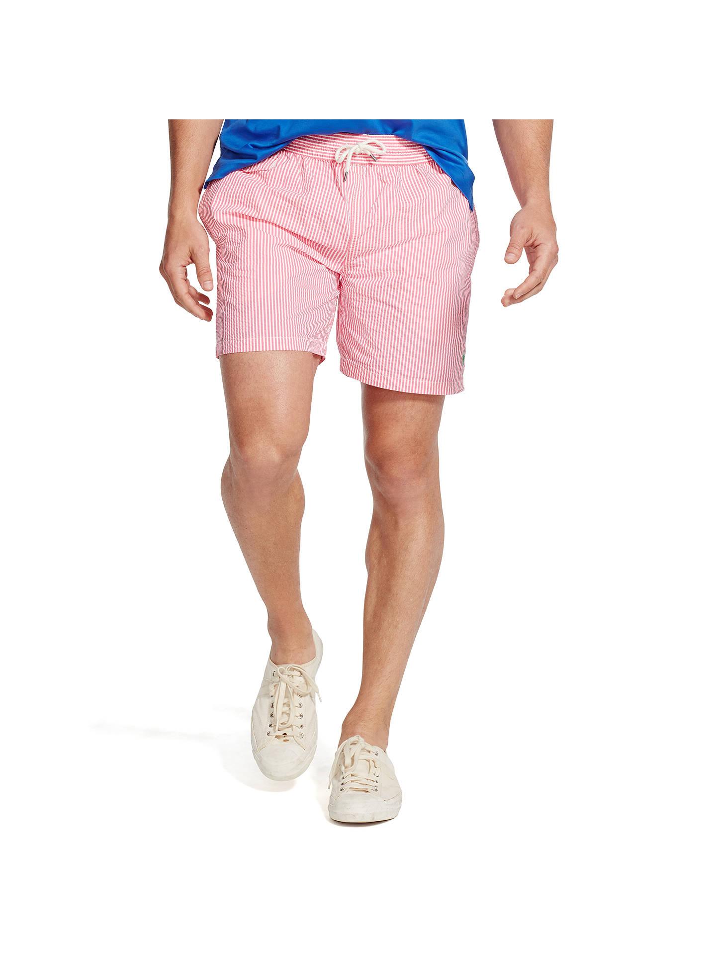 fca6aa66f3 Buy Polo Ralph Lauren Traveller Swim Shorts, Pink/White, M Online at  johnlewis ...