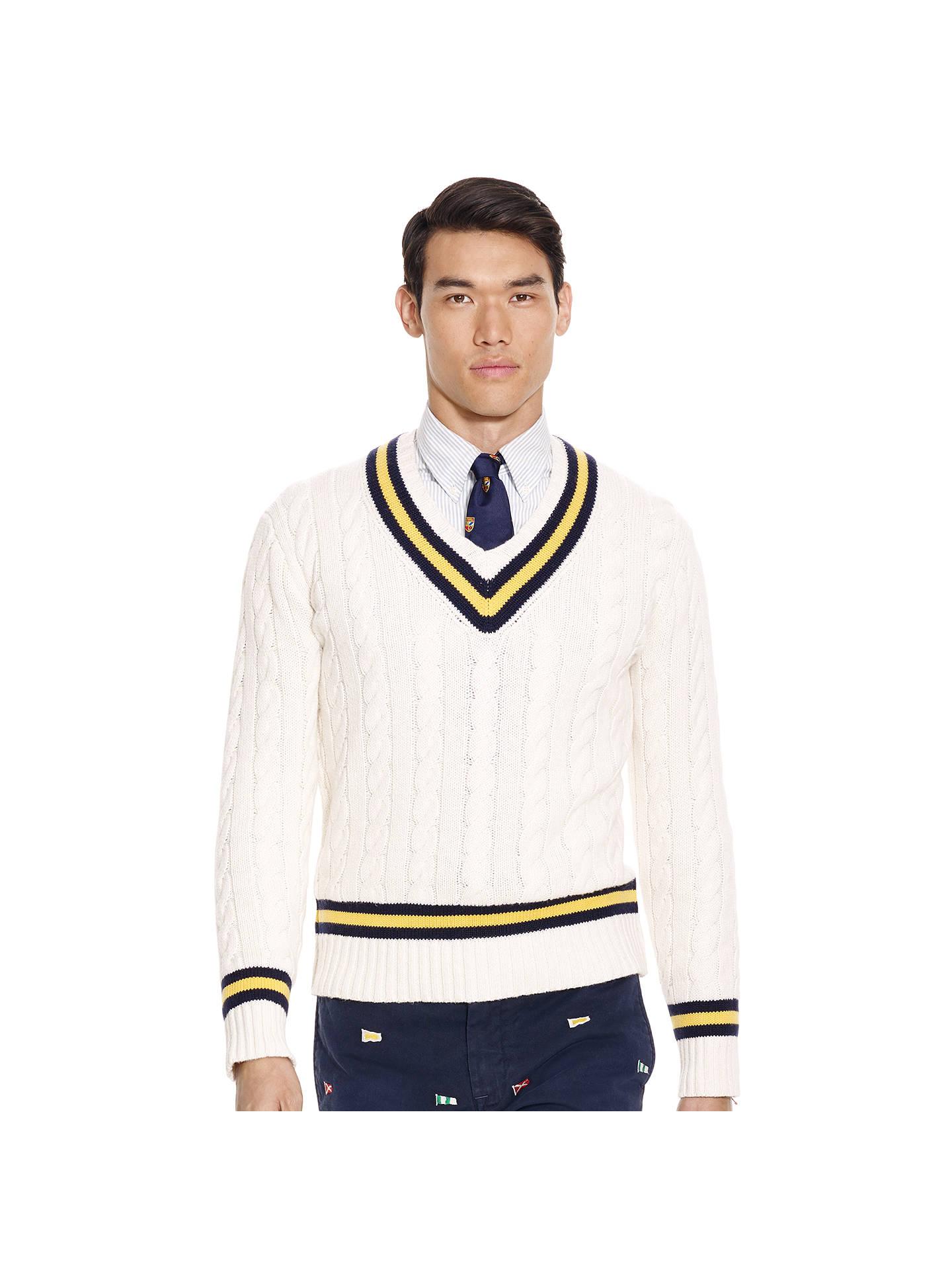 5402e1656986 Buy Polo Ralph Lauren V-Neck Cricket Jumper, White/Navy, M Online ...