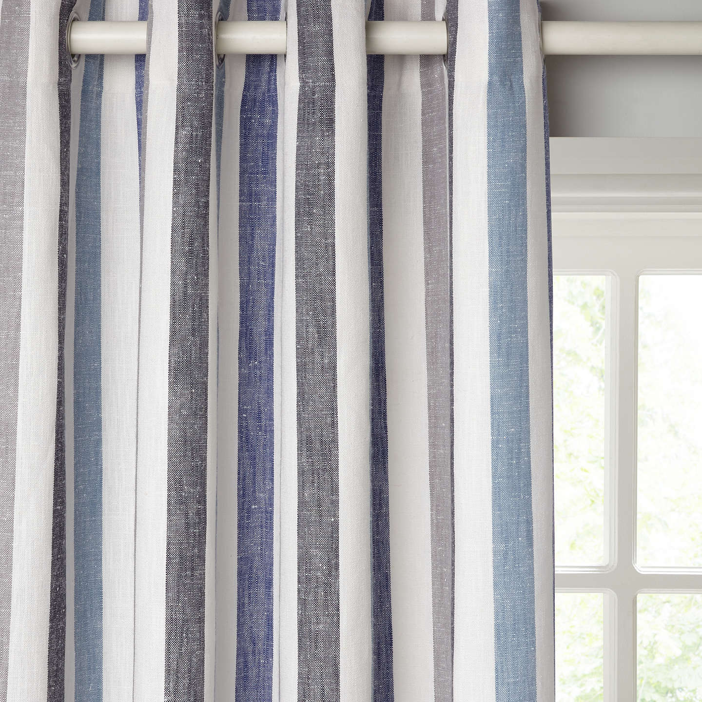 BuyJohn Lewis Penzance Stripe Pair Lined Eyelet Curtains, Blue, W167 x Drop 137cm Online at johnlewis.com