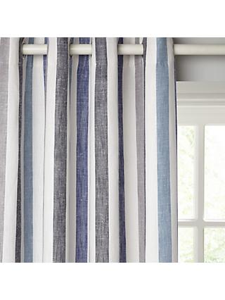 John Lewis & Partners Penzance Stripe Pair Lined Eyelet Curtains, Blue
